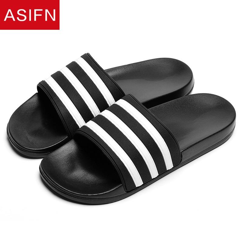ASIFN Men's Slippers EVA Men Shoes Women Couple Flip Flops Soft Black White Stripes Casual Summer Ma