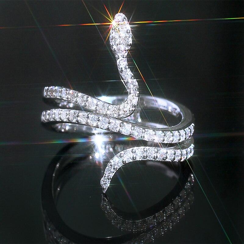Модное Трендовое женское кольцо JK в виде змеи серебряного цвета с блестящими камнями из Кубического циркония изысканные штабелируемые кольца в форме змеи модные новые