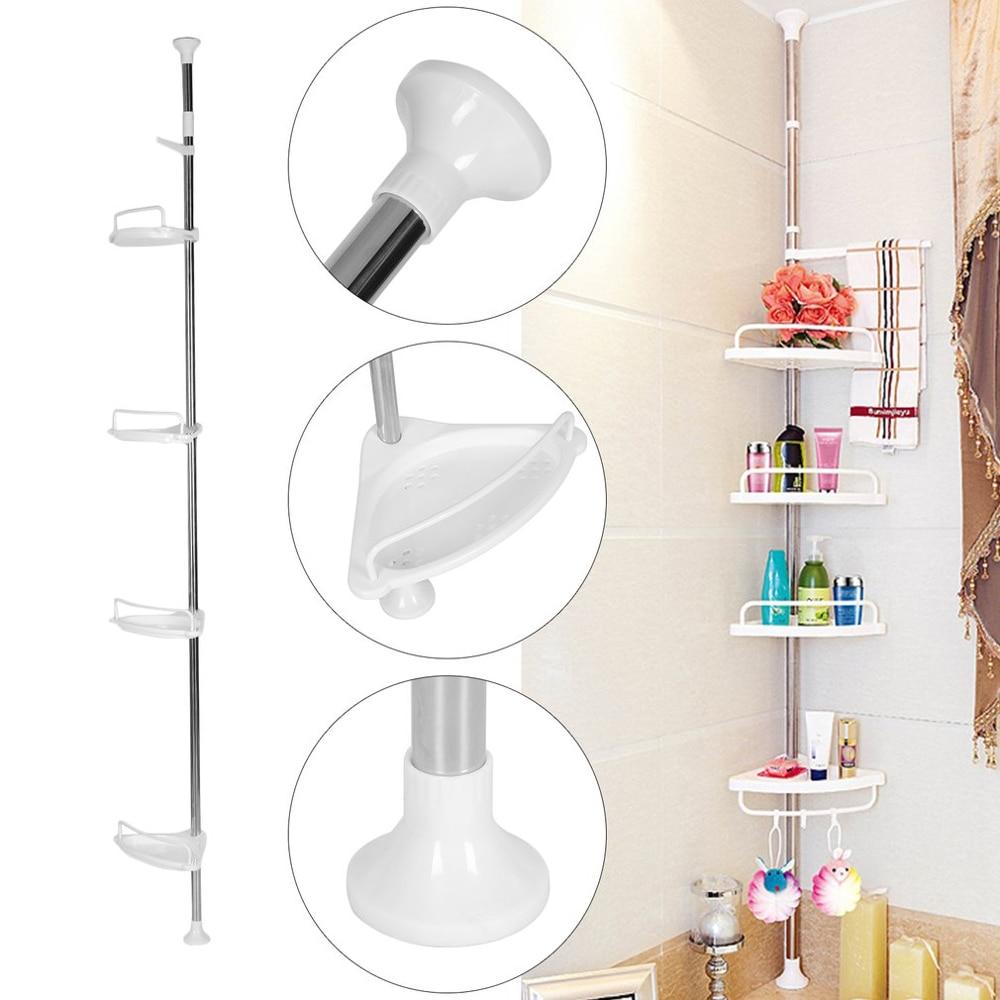 4 capas 85-305cm altura telescópica ajustable cuarto de baño esquina estante de ducha estante suministros de baño organizador soporte de almacenamiento