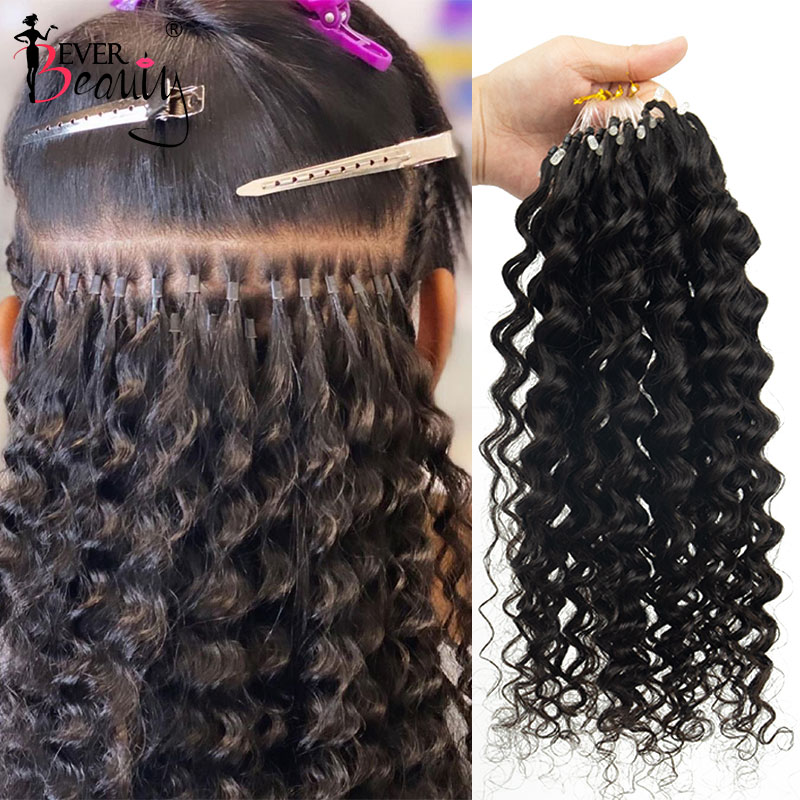 Deep Wave Bead Loop Human Hair Extensions Brazilian Virgin Hair Weave Bundles  Micro Ring Extensions