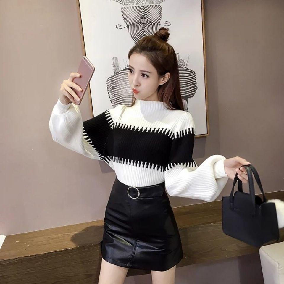 Autumn and winter loose girl student Lantern Sleeve Sweater women's slim sweater versatile long sleeve Pullover enlarge
