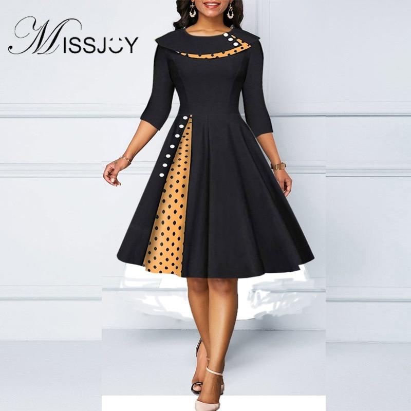 Missjoy feminino temperamento lapela polka dot costura mangas retro hip-envolto a line grande swing magro joelho comprimento vestido