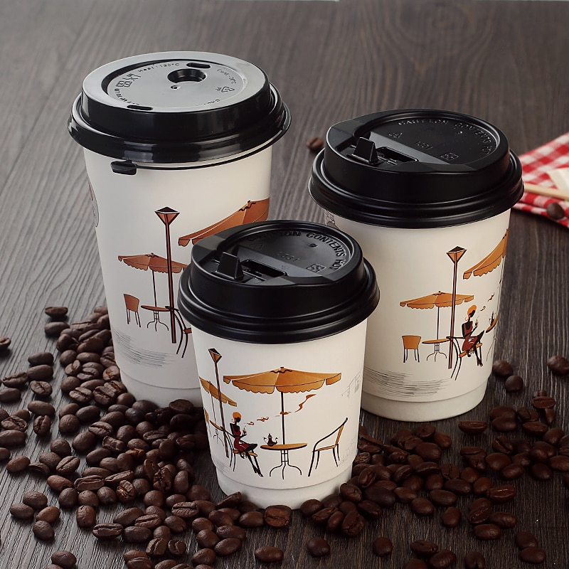 50 Uds Net red hollow a prueba de calor bebidas calientes taza de papel 8oz/14oz/16oz 250ml 400ml 500ml embalaje desechable taza de café con tapa