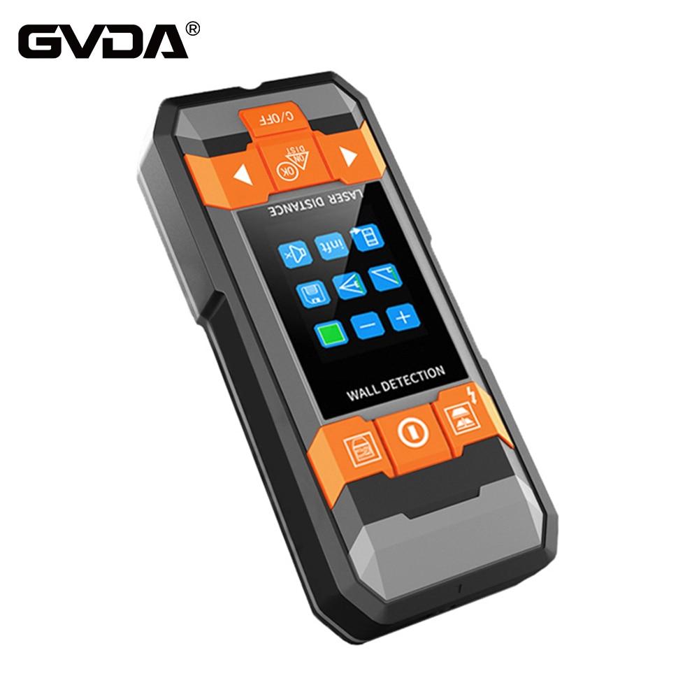 GVDA للكشف عن المعادن الليزر مقياس مسافات Rangefinder الجدار الماسح الضوئي النحاس التيار المتناوب الأسلاك الخشب مكتشف الأسلاك عمق تعقب شريط القياس
