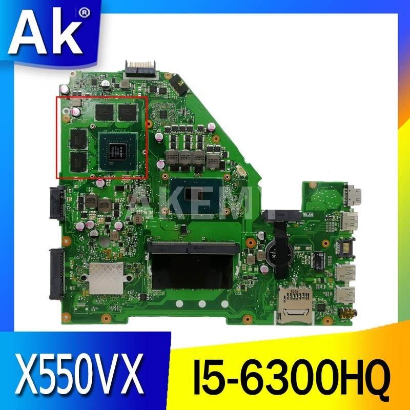 Akemy X550VQ اللوحة الرئيسية لأجهزة الكمبيوتر المحمول ASUS X550VX X550VQ FZ50VX FH5900V X550VX اللوحة الأم اختبار الأصلي I5-6300HQ GT940M 4GB RAM