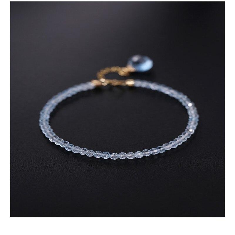 DAIMI السماء الزرقاء توباز سوار الإناث الأحجار الكريمة حقيقية 18K الذهب والمجوهرات