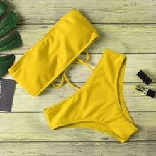 Bikini Set 2020 Neue Frauen Bademode Reine Farbe Push Up Padded Badeanzug Biquini Frauen Badeanzug Sommer Beachwear