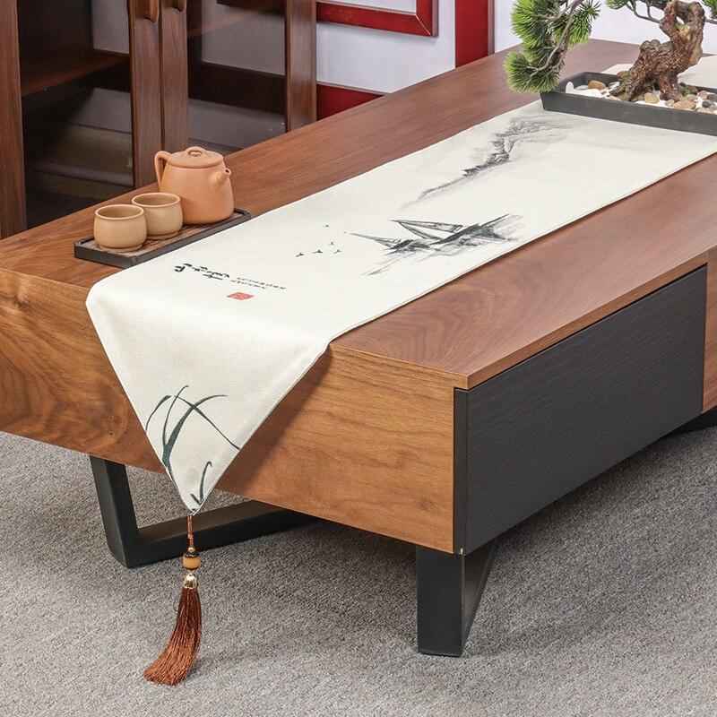 الصينية الكلاسيكية الجدول عداء بسيط التلفزيون خزانة الجداول طاولة شاي القهوة السرير العلم أنيقة القطن والكتان Chemin دي Tab