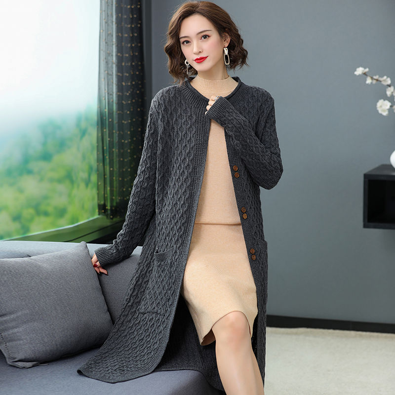 Autumn spring fashion long cardigan for women knitted sweater open front fall outfits enlarge