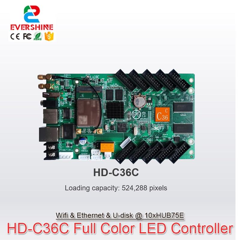 Huidu HD-C36 C36C من Asynch كامل اللون شاشة LED بطاقة تحكم wi-fi دعم أوسع 8192 أعلى 1024 والتحكم في تطبيق جوال