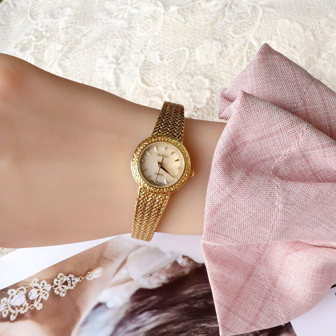 Women Gold Watches INS New Carved Natural Fritillaria Face Women's Small Gold Watch 30m Waterproof High Quality Movement enlarge
