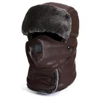 russian trapper pu leather warm trooper winter fur cap women men bomber hats plush ear flaps breathable mask neck waterproof