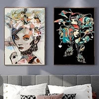 modern nordic decorative picture abstract figure canvas painting woman flower poster and prints wall art living room decor