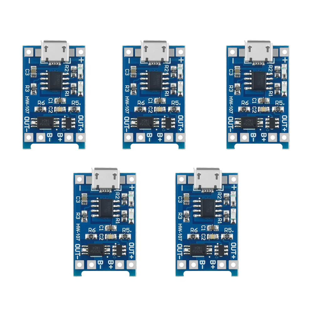 1/3/5PCS 5V 1A Micro USB 18650 Lithium Battery Charging Board Charger Module+Protection Dual Functions TP4056