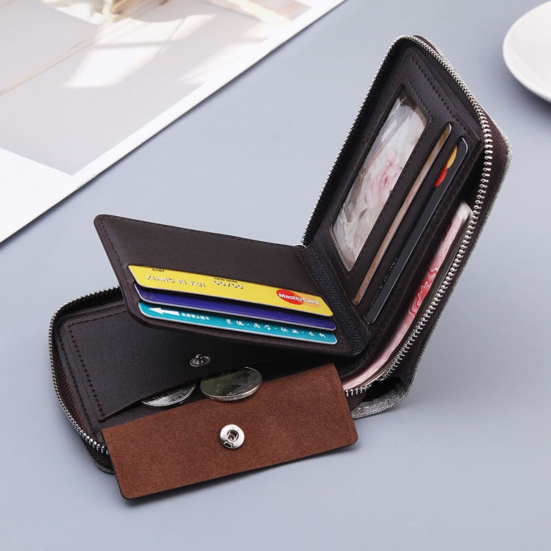 Men's Fashion Short Wallets Zipper Canvas Card Holder Portmoney Slim Billeteras Men Standard Wallets Solid Polyester Casual 0.13  - buy with discount