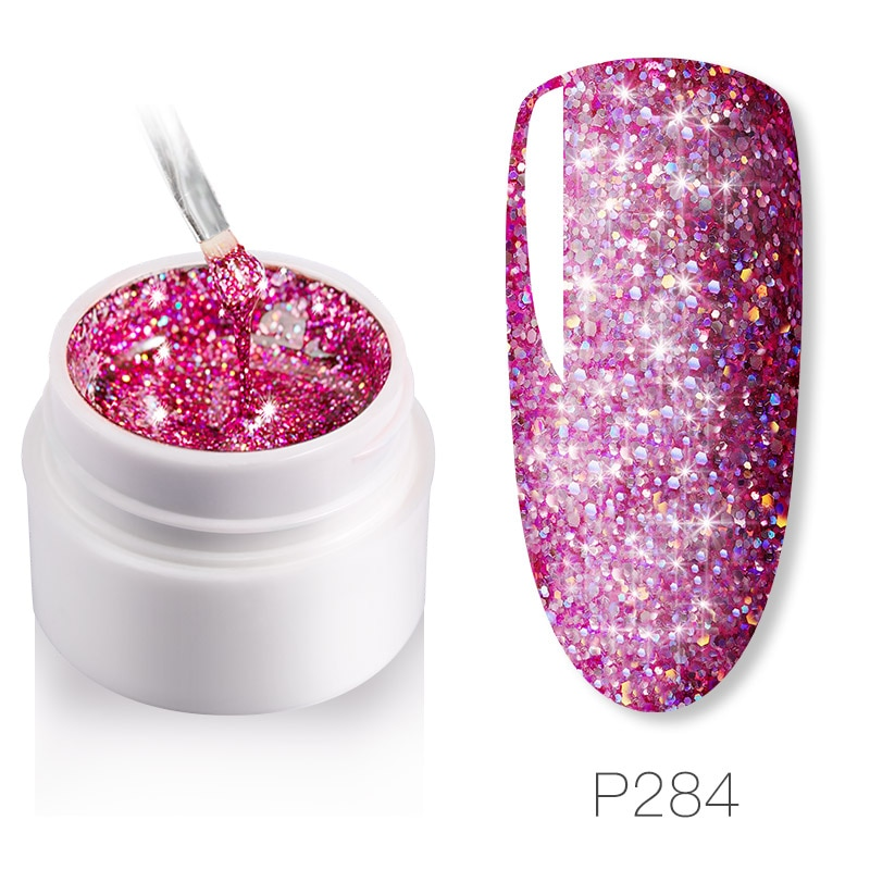 12 Colors Fashion Set SGel Nail Polish Nail Glue Glitter Pink UV LED Brilliant Diamond Gel Varnish V