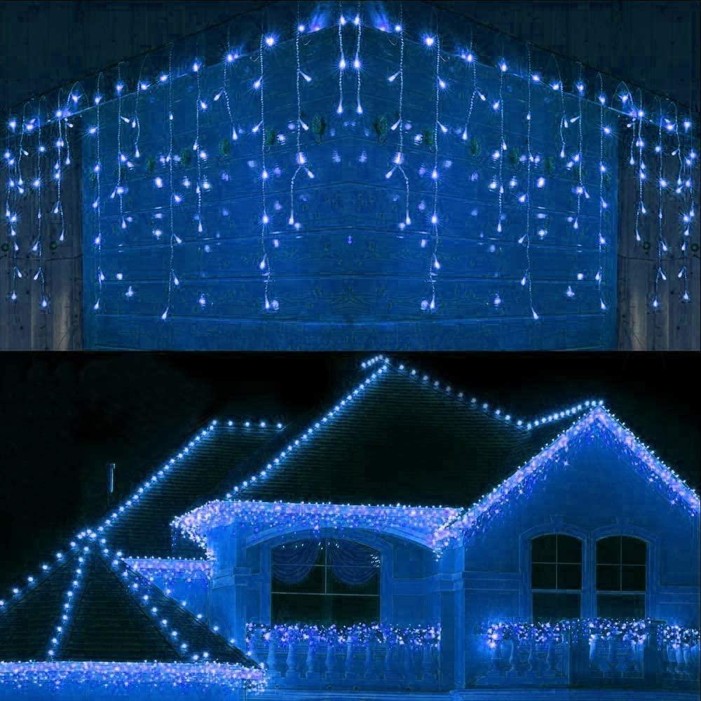 Guirnalda navideña para exteriores, luces de carámbanos impermeables de 8/12/20M, para patio,...