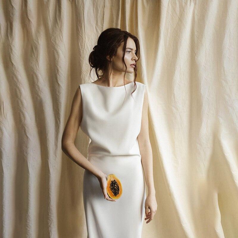 خياط متجر مخصص الحرير الخالص الحرير الثقيل 40 مللي متر بسيطة الغابات السفر العرائس عارية الذراعين زائدة صغيرة فساتين الزفاف