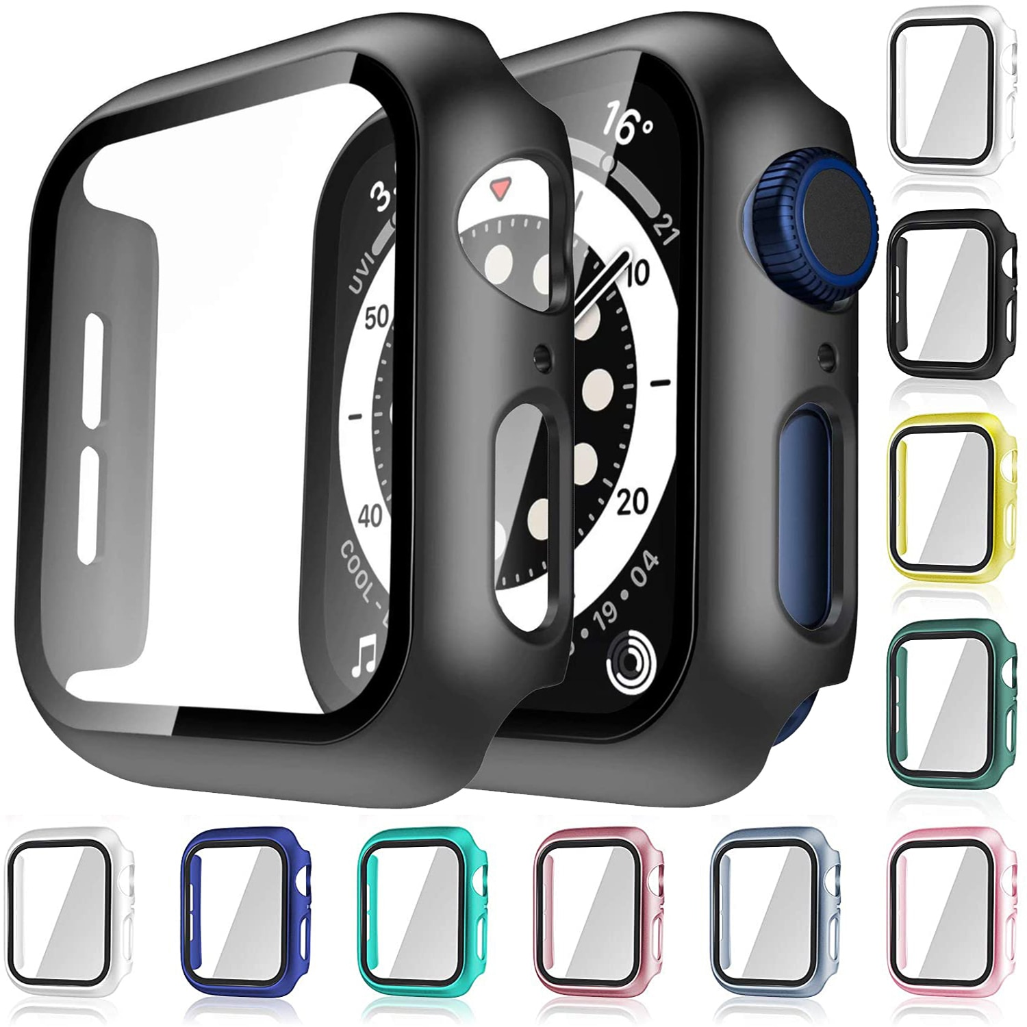 watch cover case for apple watch 6 5 4 3 2 1 se 44mm 42mm 40mm 38mm colorful screen full protector shell for iwatch watch case Glass+Case For Apple Watch Serie 6 5 4 3 2 1 SE 44mm 40mm iWatch Case 42mm 38mm Bumper Screen Protector+Cover Watch Accessorie