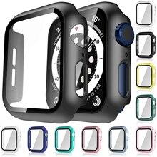 Cristal + funda para Apple Watch Serie 6 5 4 3 2 1 SE 44mm 40mm iWatch funda 42mm 38mm Protector de pantalla de parachoques + Accesorios de reloj de cubierta