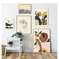 boho abstract landscape poster and print nordic sun woman face navy blue line art picture decorative wall canvas painting
