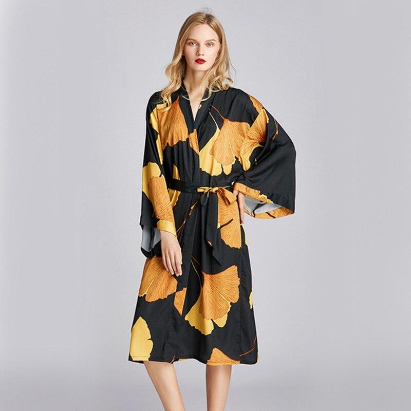 2020 Spring Summer New Silky Satin Robe Ladies Ginkgo leaf Printing Robe Sexy women Makeup Dressing Gown Casual Bathrobe