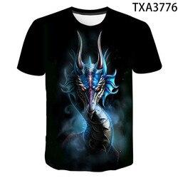 2020 novo casual de manga curta moda dragão 3d impresso roupas infantis selvagem rua tendência de secagem rápida camiseta