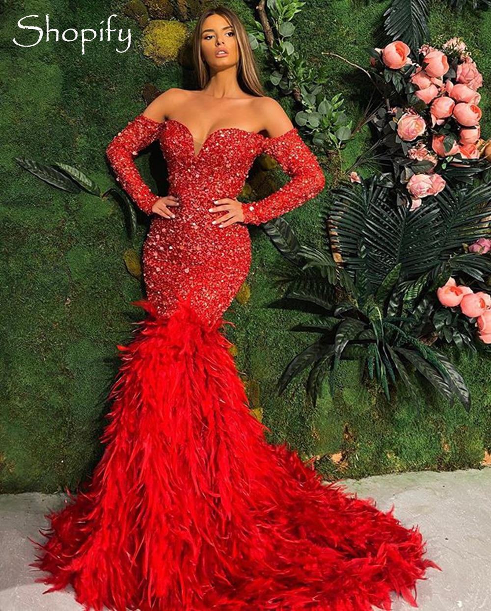 وصول جديد فستان سهرة طويل 2020 قبالة الكتف حورية البحر كم طويل ترتر أحمر ريشة دبي فساتين رسمية
