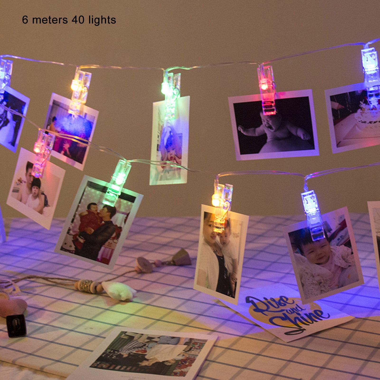 6m photo clip titular led luzes da corda 40led para festa de casamento feriado casa