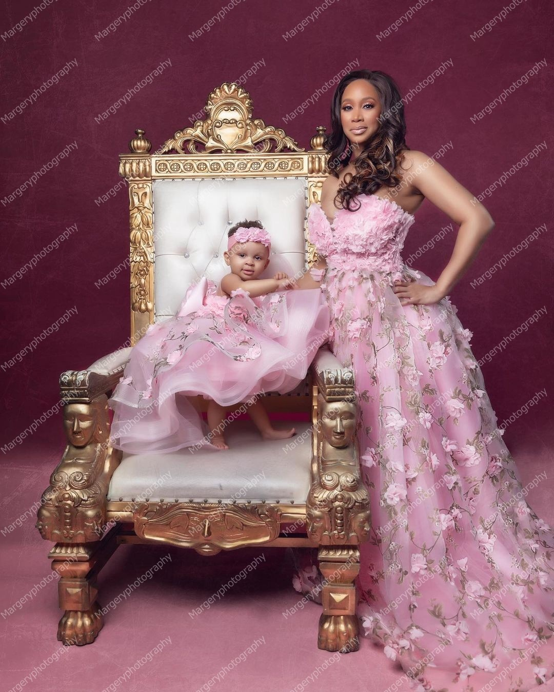Luxury Embroidery Mother And Me Dresses For Photo   Shoot Ruffles Ball Gown Custom Made Floral Mom And Me   Dress enlarge