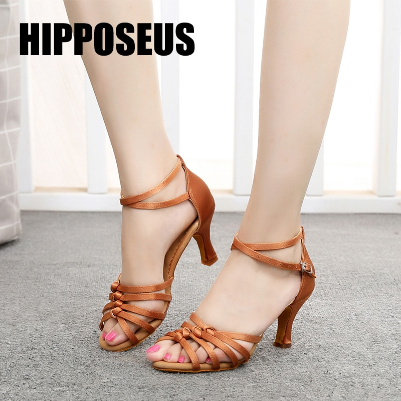 Hipposeus Latin Ballroom Dance Shoes for Woman Girls Ladies Cha Cha Samba Jazz Modern Tango Dancing Shoes Rumba Soft sole Knots
