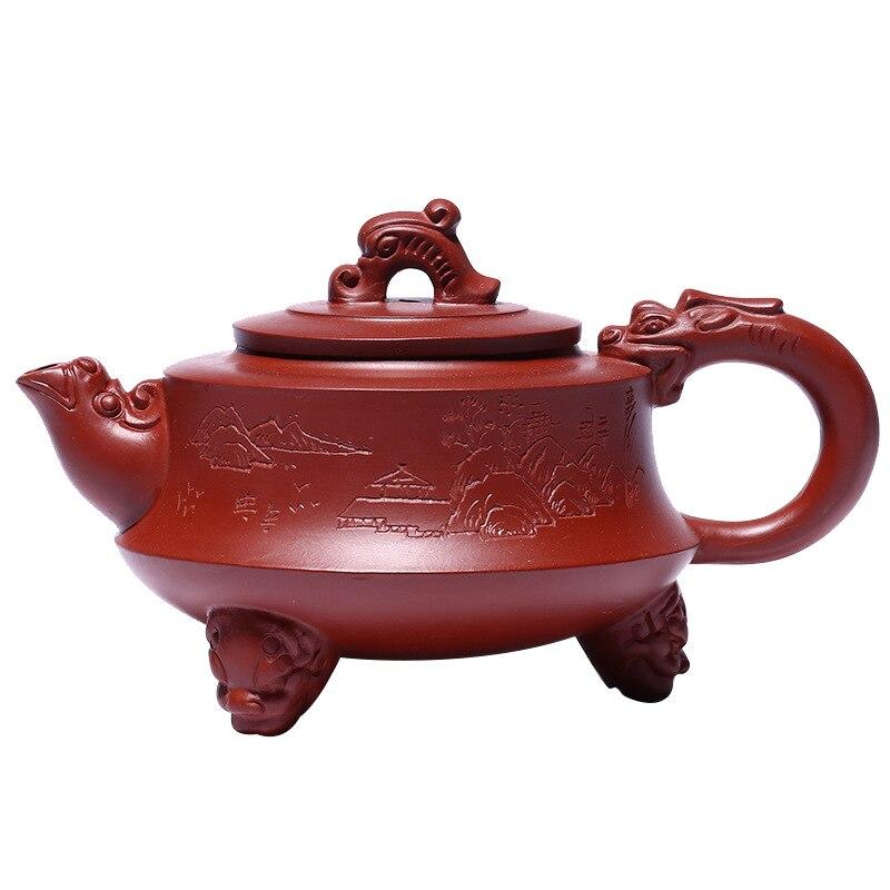 ابريق شاي التنين ثلاثة ارجل من خام Dahongpao ابريق شاي زيشا ييشينغ يدوي الصنع بوعاء للكونغ فو اوعية للشرب من الطين الارجواني لبوير