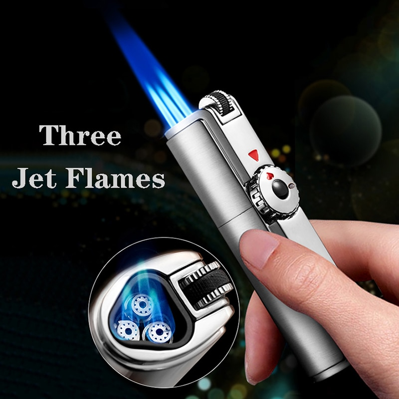 Original jobon Triple Torch Lighter 3 Blue JET flame. Turbo Fire. GAS CIGAR lighter.Windproof Metal