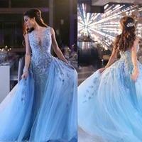luxury sky blue 3d floral over skirt prom dresses dubai arabic style handmade flower dresses party evening wear custom made