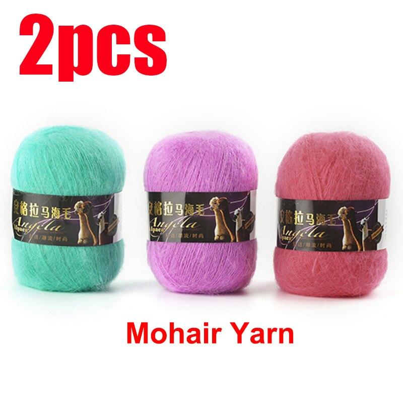 2 uds hilos mezclados de Mohair lana para crochet tejer wolle zum...