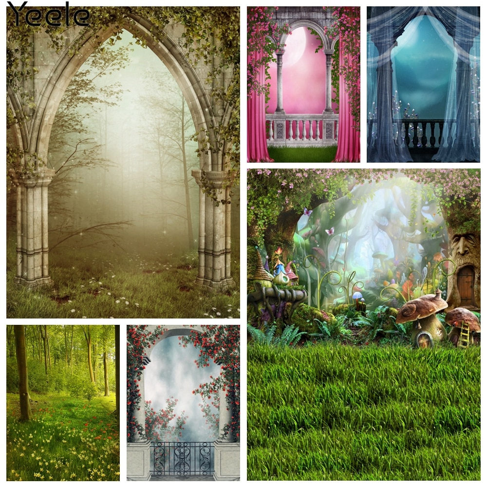 Yeele Wallpaper Photocall Arch Door Fog Fence Flower Photography Backdrop Personalized Photographic Backgrounds For Photo Studio