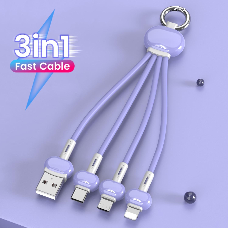 Брелок 3 в 1 USB Type C кабель для iPhone 12 11 XS X XR 3 в 1 USB кабель зарядного устройства 2 в 1 Micro USB Type C шнур для Xiaomi Redmi