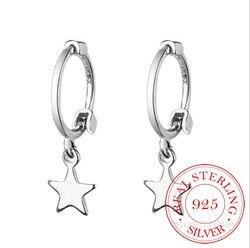 Estilo punk 925 sólido prata esterlina cruz coração estrela charme bonito brincos para as mulheres acessórios de festa pendientes brincos