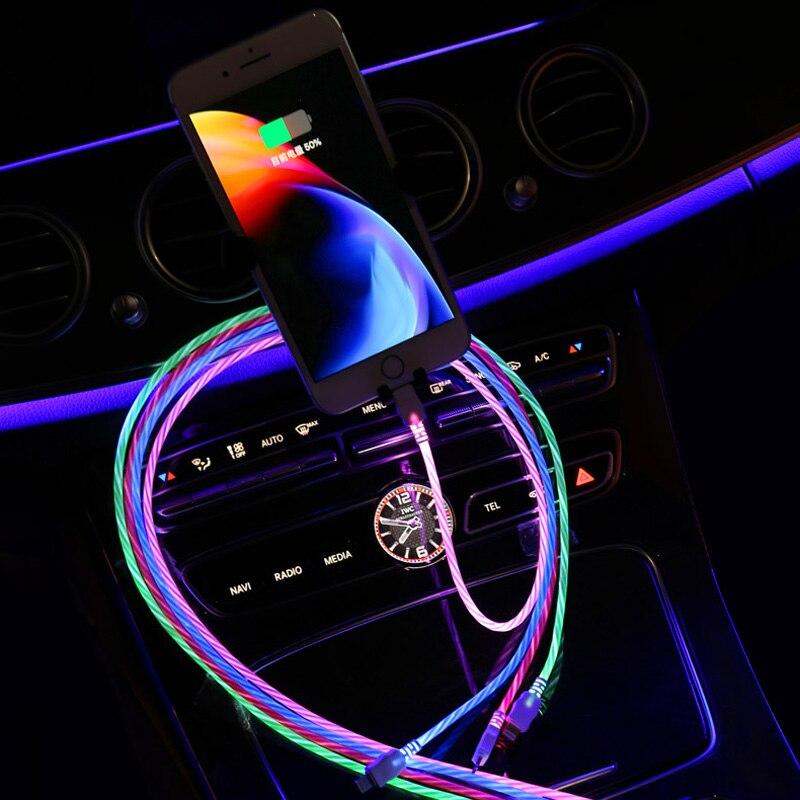 Luz LED de coche USB tipo C usb-c cargador de Cable de datos de carga rápida para KIA Rio Ceed Sportage Mazda 3 6 Cx-5 Peugeot 206, 307, 308, 207