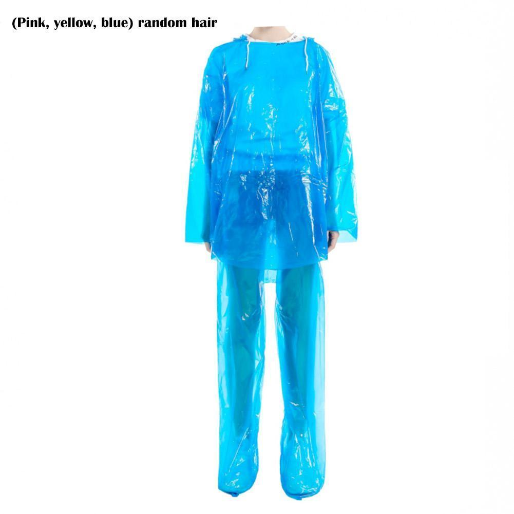 "Impermeable Poncho transparente ""pantalones a prueba de lluvia Set Split senderismo escalada Raftin montaña desechable impermeable traje al aire libre B3U5"