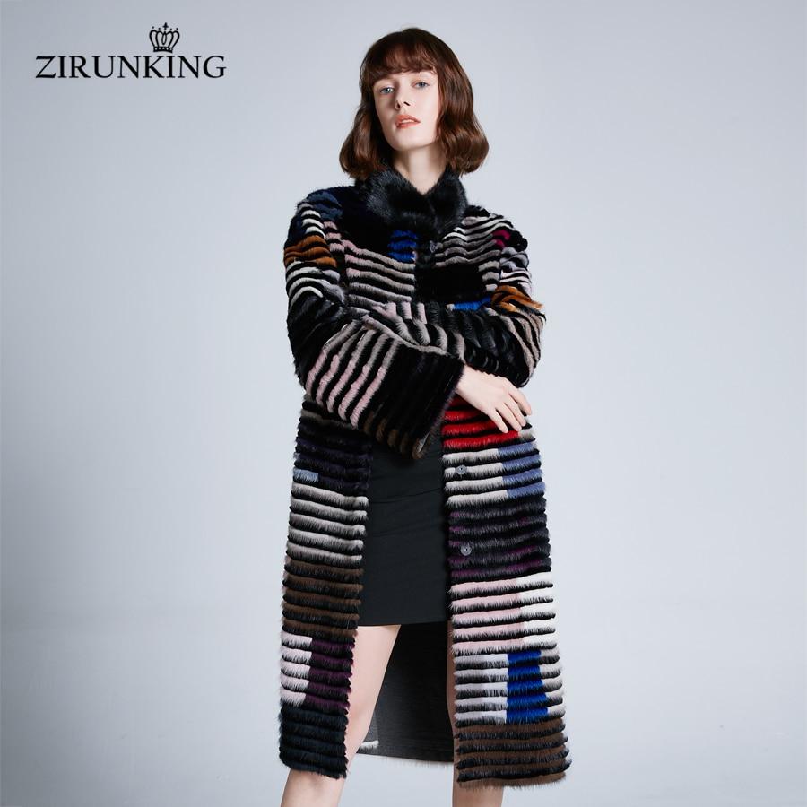 ZIRUNKING-معطف نسائي طويل من فرو المنك الطبيعي ، معطف مقلم ، ملون ، جودة عالية ، لفصل الخريف الدافئ ، ZC1902 ، 2020