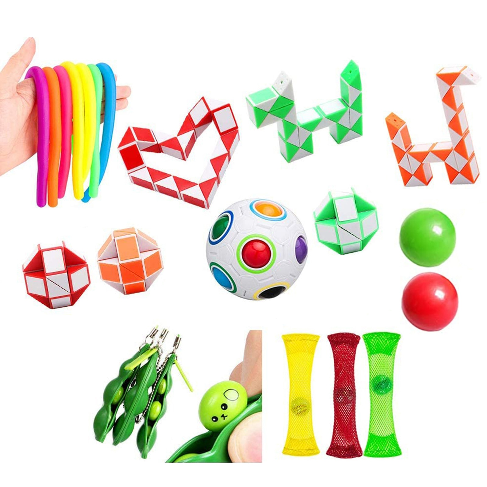 Fidget Toys Anti Stress Toy Set Stretchy Strings Mesh Marble Ball Decompression Toy Stick Wall Ball Stress Relief Toys enlarge