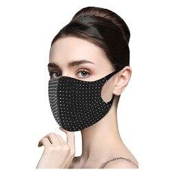 1pc pm2.5 diamantes respirável máscara reutilizável à prova de vento poeira neblina máscara protetora máscara facial lavável mascarilla