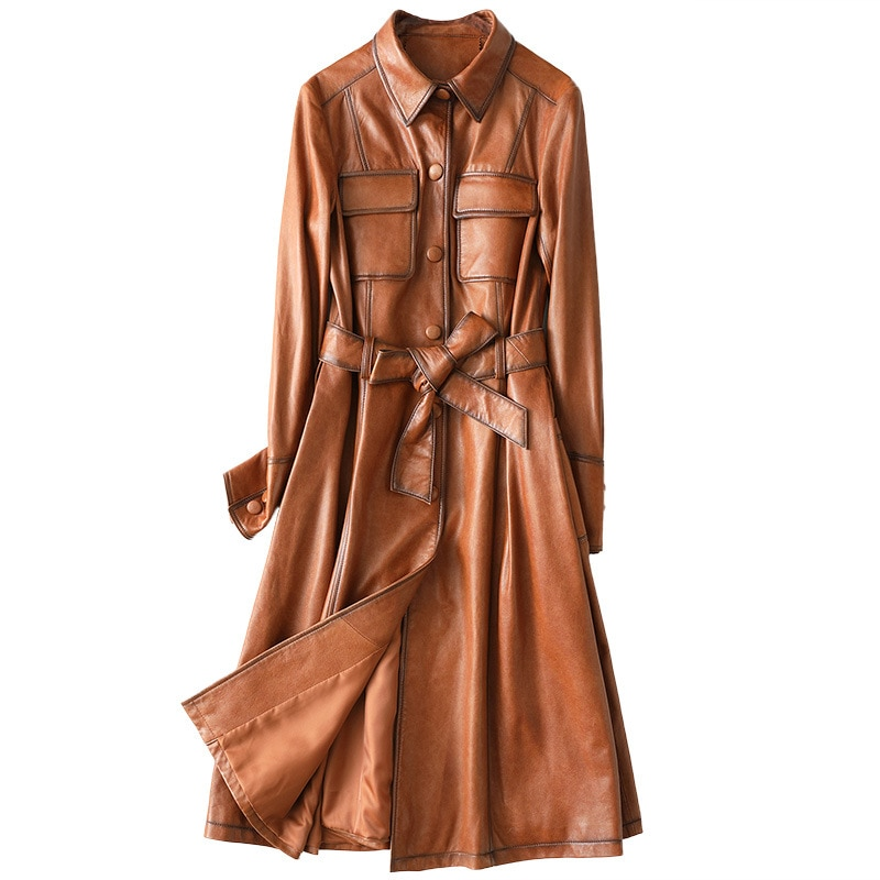 Winter Classic Slim Long Sheepskin Women Genuine Leather Jackets High Quality Full Sleeves Coat Sashes Pockets Caramel Outwear