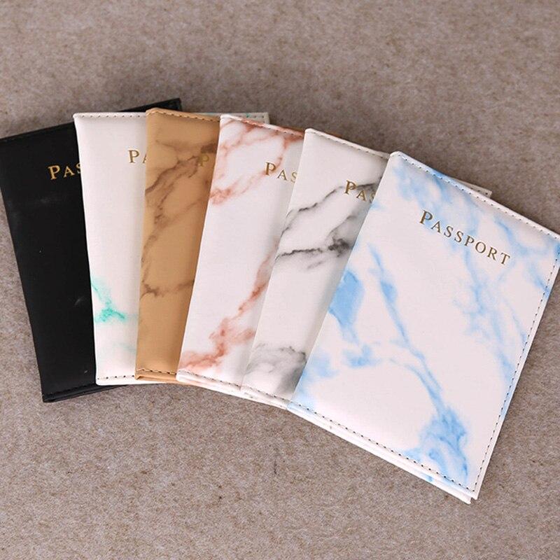 Marble Pattern Simple PU Leather Unisex Portable Passport Covers Men Women Travel Wallet Credit Card Holder Organizer Case