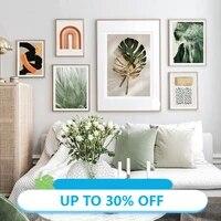 Affiches de peinture sur toile  feuilles vertes et dorees modernes  arc-en-ciel  tableau dart mural abstrait pour decoration de salon  decoration de maison