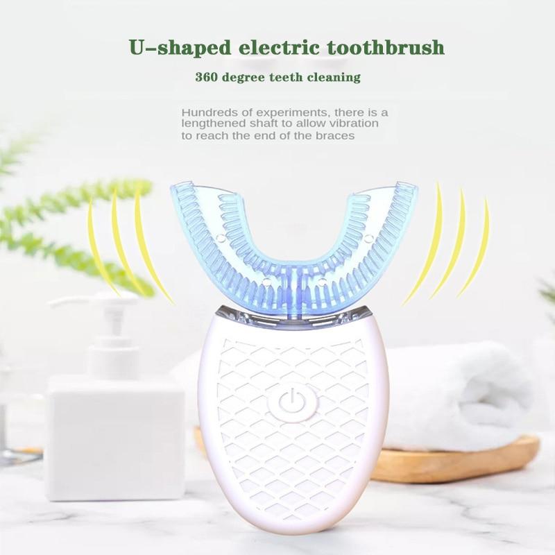 סוניק חשמלי מברשת שיניים 360 תואר אלחוטי USB טעינה עצלן אוטומטי סיליקון שיניים הלבנת ניקוי מברשת אוראלי טיפול מדי