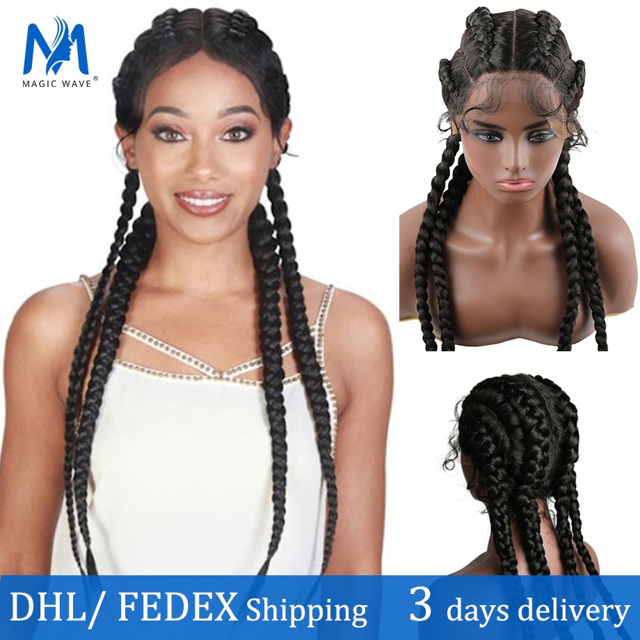 30 inch Braided Wigs Synthetic Lace Wig for Black Women Lace Wigs Cornrow Braids with Baby Hair 30 inches Blakc Box Braid Wigs