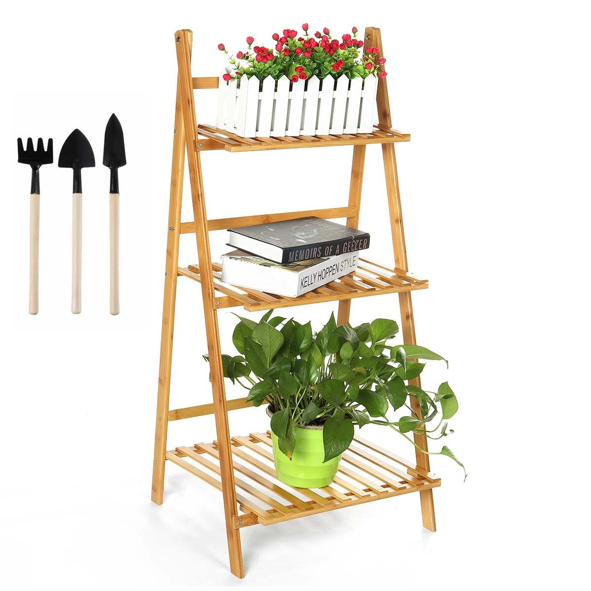 50/70/100CM Plant Stand Shelf 3 Tier Bamboo Wood Plant Flower Pots Shelves Rack Holder Indoor Outdoor with 3PCS Free Tools