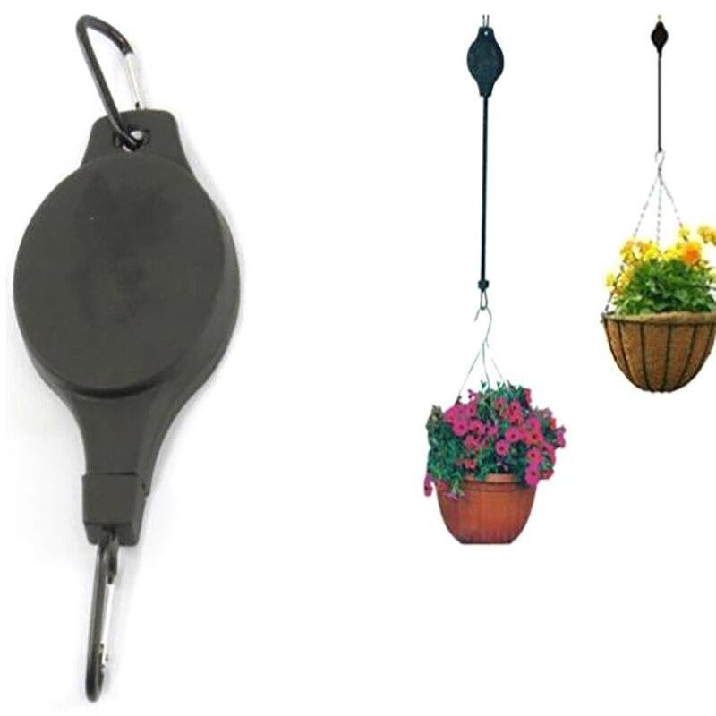 Schwarz Versenkbare Garten Pulley Korb Pull Unten Hängen Aufhänger Blumentopf Haken Pflanzer Kunststoff Halter Haushalt Blumentopf